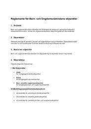 Reglemente för Barn- och Ungdomsnämndens stipendier