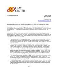 For Immediate Release Press Release Media Contact ... - Clay Center