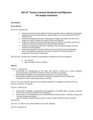 WV 21 Century Content Standards and Objective For Simple Inventions