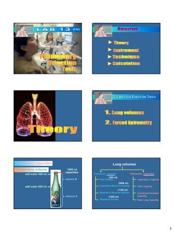 Pulmonary capacities Pulmonary volume Lung volumes