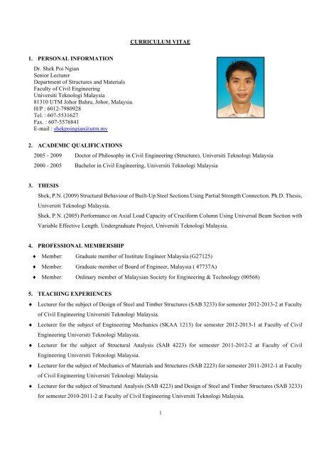 curriculum vitae 1 personal information dr shek poi