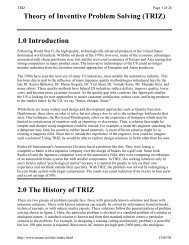 Theory of Inventive Problem Solving (TRIZ) 1.0 Introduction 2.0 The ...