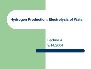 Hydrogen Production Electrolysis of Water Lecture 4 9/14/2004
