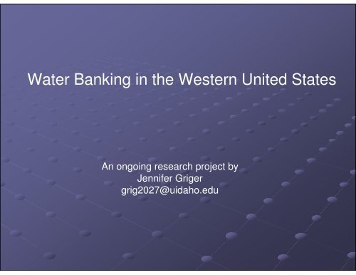 Water Banking in the Western United States