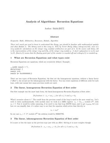 Analysis of Algorithms: Recursion Equations