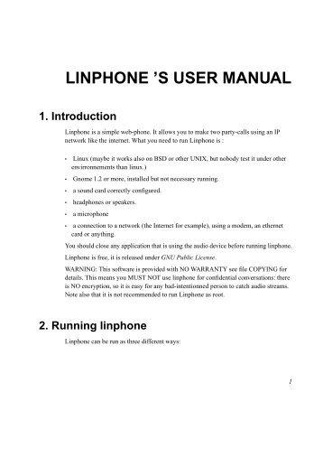 LINPHONE 'S USER MANUAL