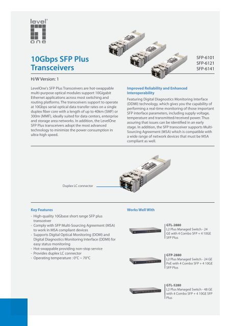 10Gbps SFP Plus Transceivers - LevelOne