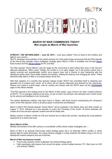 War erupts as March of War launches