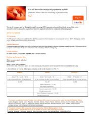 Cut off times for receipt of payments by ING
