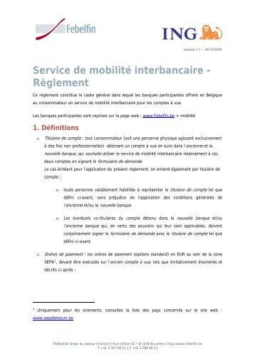 Service de mobilité interbancaire - Règlement