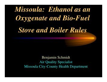 Oxygenate and Bio-Fuel Stove and Boiler Rules