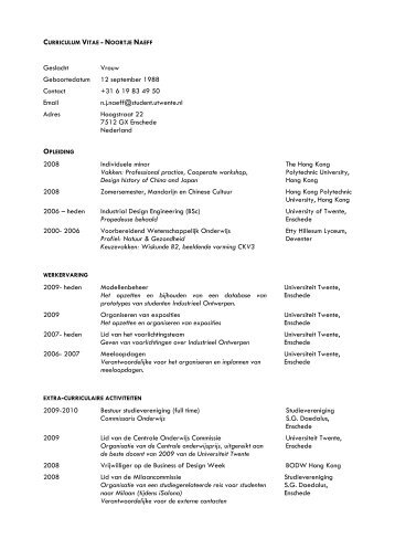 curriculum vitae noortje naeff opleiding extra curriculaire