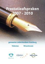 Prestatieafspraken 2007 - 2010