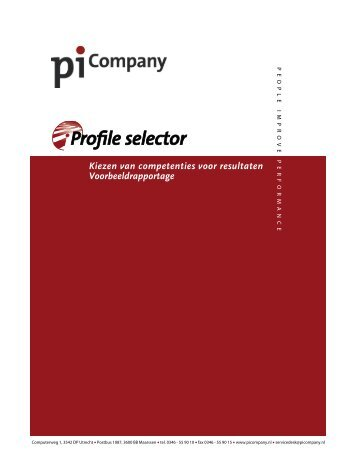 Kiezen van competenties voor resultaten Voorbeeldrapportage