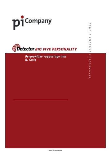 Persoonlijke rapportage van B. Smit - PiCompany