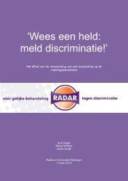 'Wees een held meld discriminatie!'