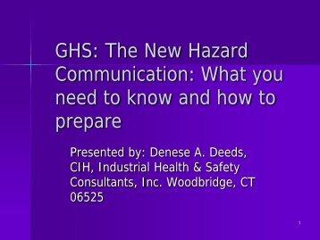GHS: The New Hazard Communication