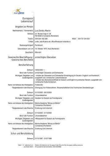 europass lebenslauf traduceri notarialero - Lebenslauf Europass