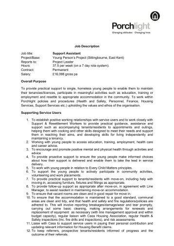 Job Description Job title: Support Assistant Project/Base ... - Porchlight