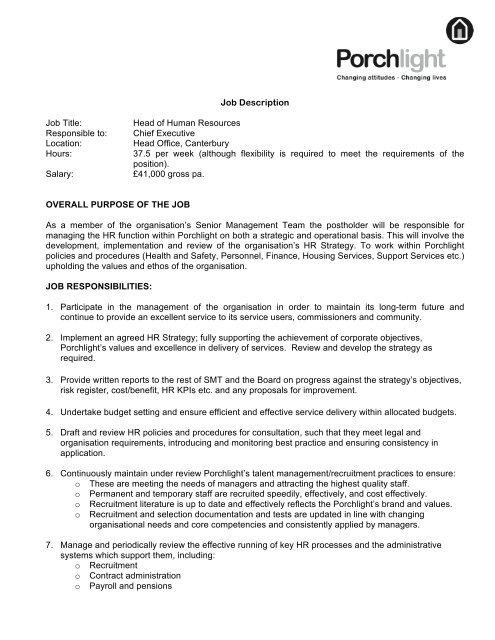 Job Description Job Title: Head of Human Resources     - Porchlight