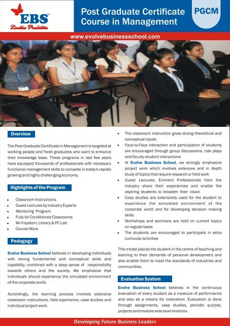 Post Graduate Certificate Course in Management