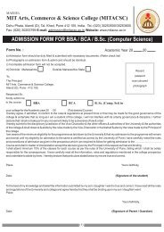 Application Form for BBA/BCA/B.Sc. - MIT Arts Commerce & Science ...