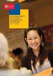 The University of Sydney Foundation Program USFP 2013