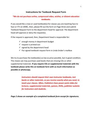 Instructions for Textbook Request Form *We do not purchase online ...