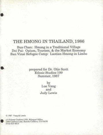 THE HMONG IN THAILAND 1986