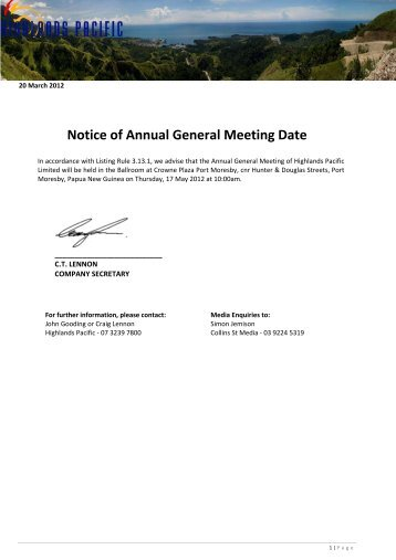 Notice of Annual General Meeting Date