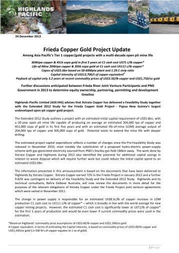 Frieda Copper Gold Project Update