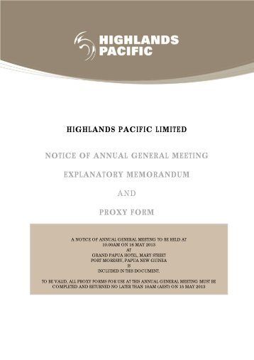 Notice of Meeting & Proxy Form - Highlands Pacific