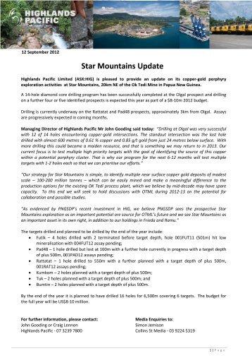 Star Mountains Update