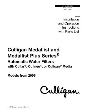 Culligan Medallist Series Water Softener Parts Pictures