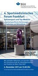 4. Sportmedizinisches Forum Frankfurt Spitzensport und Top-Medizin ...