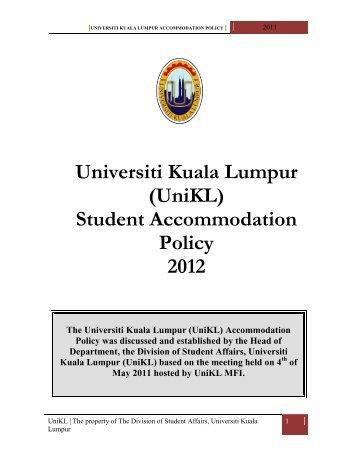 (UniKL) Student Accommodation Policy 2012
