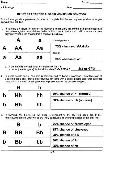 GENETICS PRACTICE 1: BASIC MENDELIAN GENETICS - Quia
