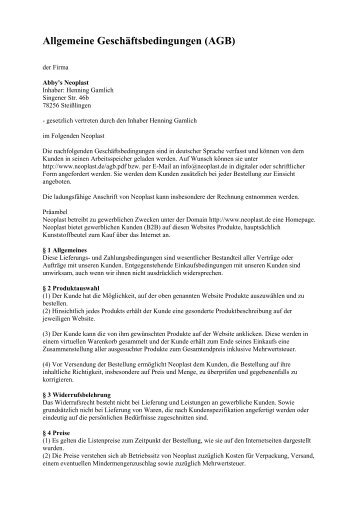 Allgemeine Geschäftsbedingungen (AGB)