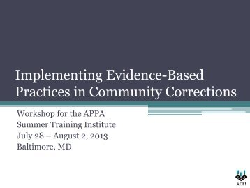 Practices in Community Corrections