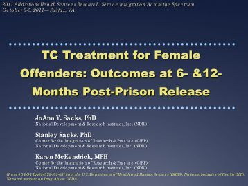 Offenders Outcomes at 6- &12- Months Post-Prison Release