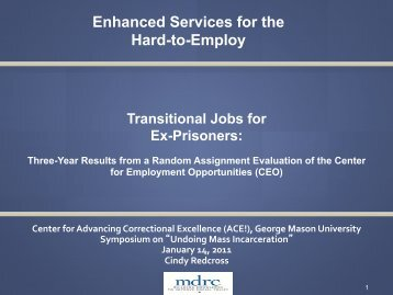 Enhanced Services for the Hard-to-Employ