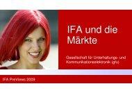 IFA und die Märkte - bei der Gesellschaft für Unterhaltungs