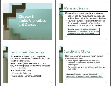 Chapter 1: Limits, Alternatives, and Choices Limits, Alternatives, and ...