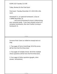 ECON 2123 Tuesday 12-3-09 Today: Review for the Final Exam ...