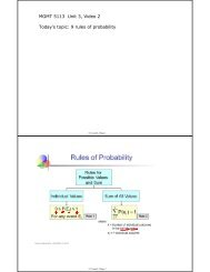 MGMT 5113 Unit 3 Video 2 Today's topic 9 rules of probability