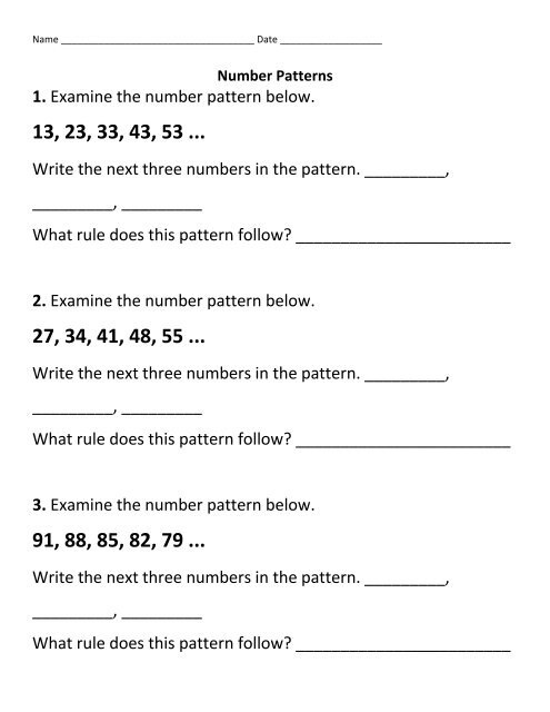 1  Examine the number pattern below  Write the next three