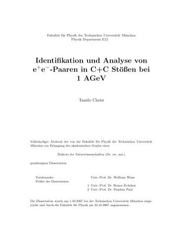 Identifikation und Analyse von e+e−-Paaren in C+C Stößen bei 1 - GSI
