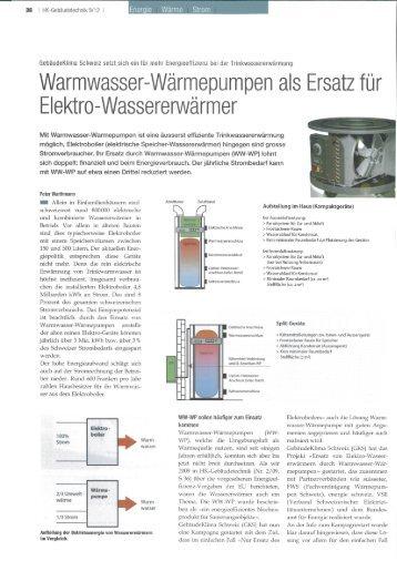 Warmwasser-Wärmepumpen als Ersatz für - FWS