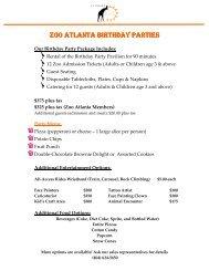 ZOO ATLANTA BIRTHDAY PARTIES