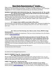 Bear Rank Requirements (3rd Grade) *Page numbers lis - Zoo Atlanta